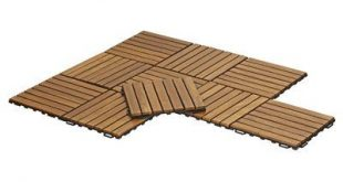 "Bare Decor EZ-Floor 12"" x 12"" Teak Wood Snap-In Deck Tiles in Oiled"