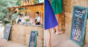 Hochzeit Scheune Bar Gäste coole Idee Strohballen