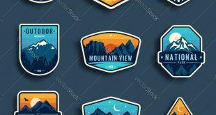 Set of nine mountain travel emblems. Camping outdoor adventure emblems, badges a...