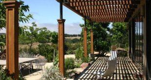 terrassenüberdachung holz sonnenschutz stein boden