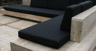 Timber seating with black cushions. A beautiful and timeless combination. Pinned...