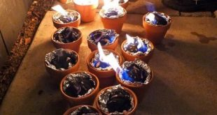 Light charcoal in terracotta pots lined with foil for tabletop s'mores. Now ...