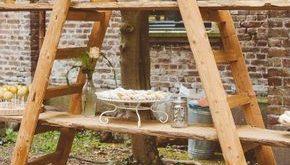 Outdoor Party Dekoidee Holzleiter Regale - gartendeko - #Dekoidee #Gartendeko #H...