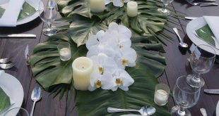 Tropical-themed table set-up with classy combination of greens and white by Cher